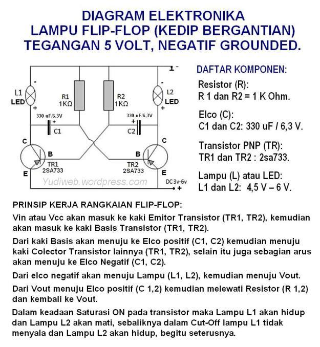 rangkaian lampu flip flop 5 volt